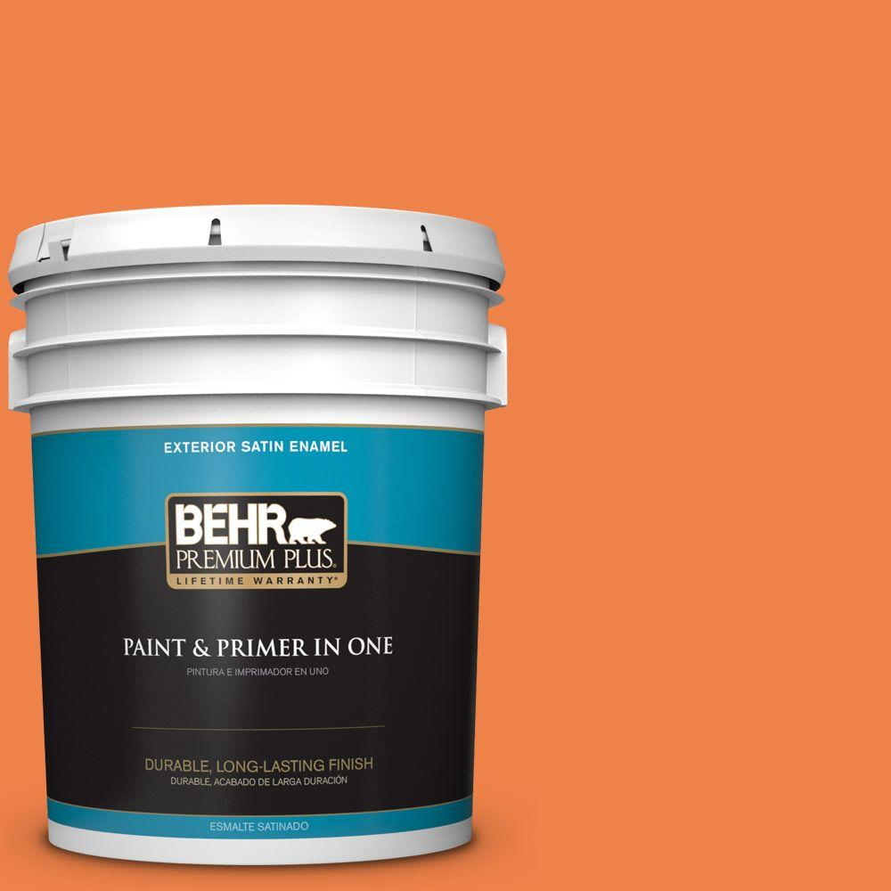 BEHR Premium Plus 5-gal. #240B-6 Orange Zest Satin Enamel Exterior Paint
