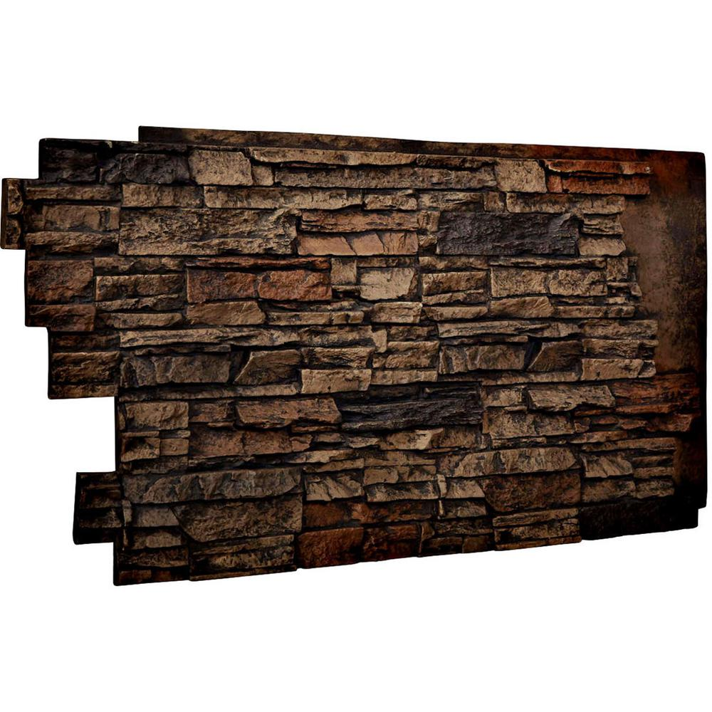Ekena Millwork 1-1/2 in. x 48 in. x 25 in. Java Urethane Stacked Stone Wall Panel