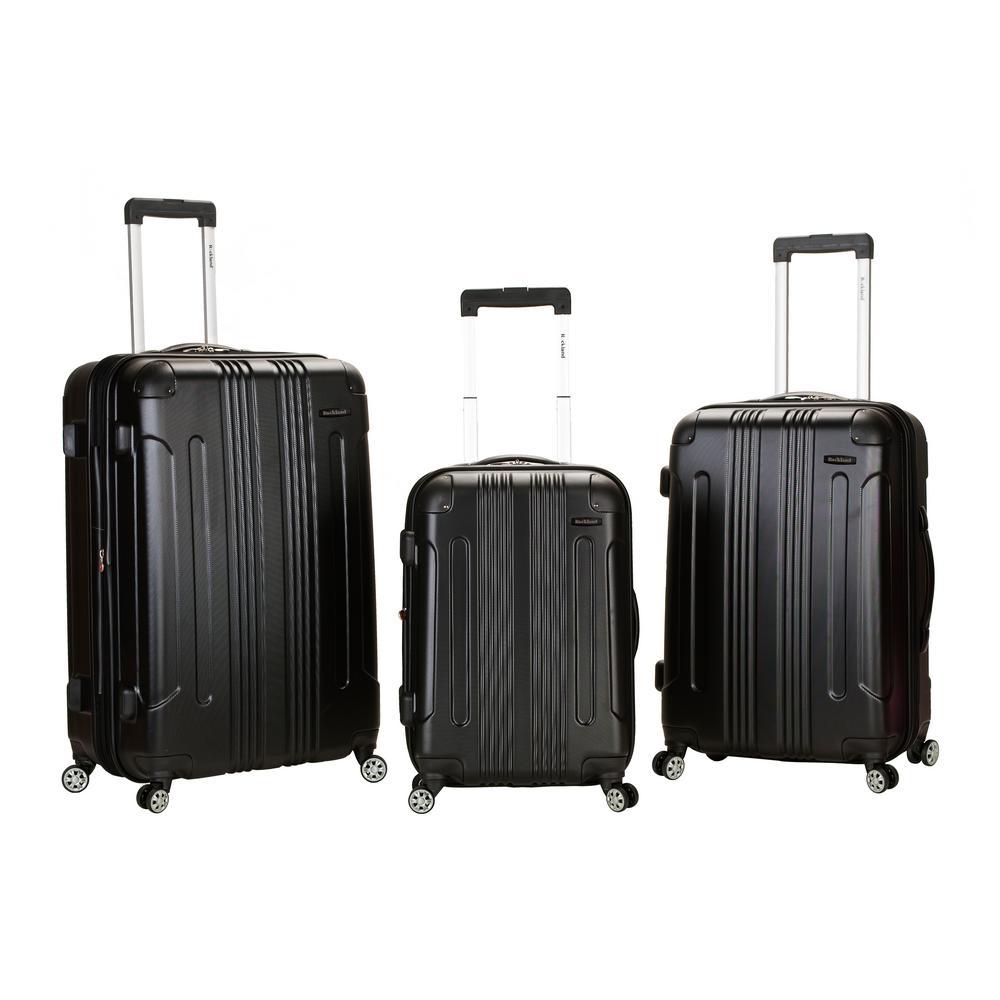 Rockland Sonic 3-Piece Hardside Spinner Luggage Set, Black