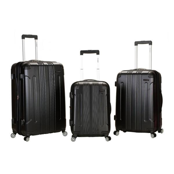 Rockland Rockland Sonic 3-Piece Hardside Spinner Luggage Set, Black F190-BLACK
