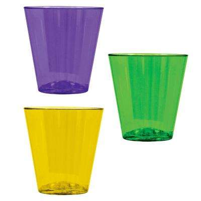 Green, Purple and Yellow Plastic Mardi Gras 2 oz. Shot Glasses (2-Pack, 40-Count)