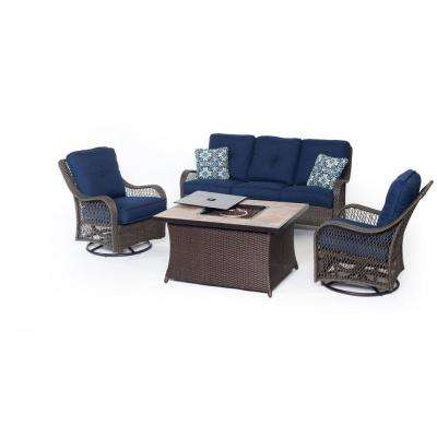 Orleans Brown 4-Piece All-Weather Wicker Patio Fire Pit Seating Set with Navy Blue Cushions