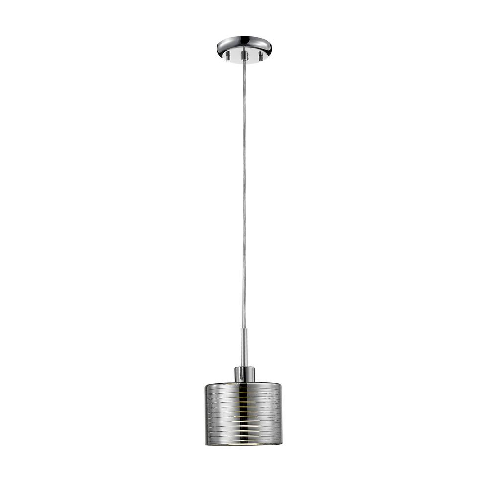 Filament Design Sevier 1-Light Chrome Pendant with Chrome Steel and Crystal Glass Shade