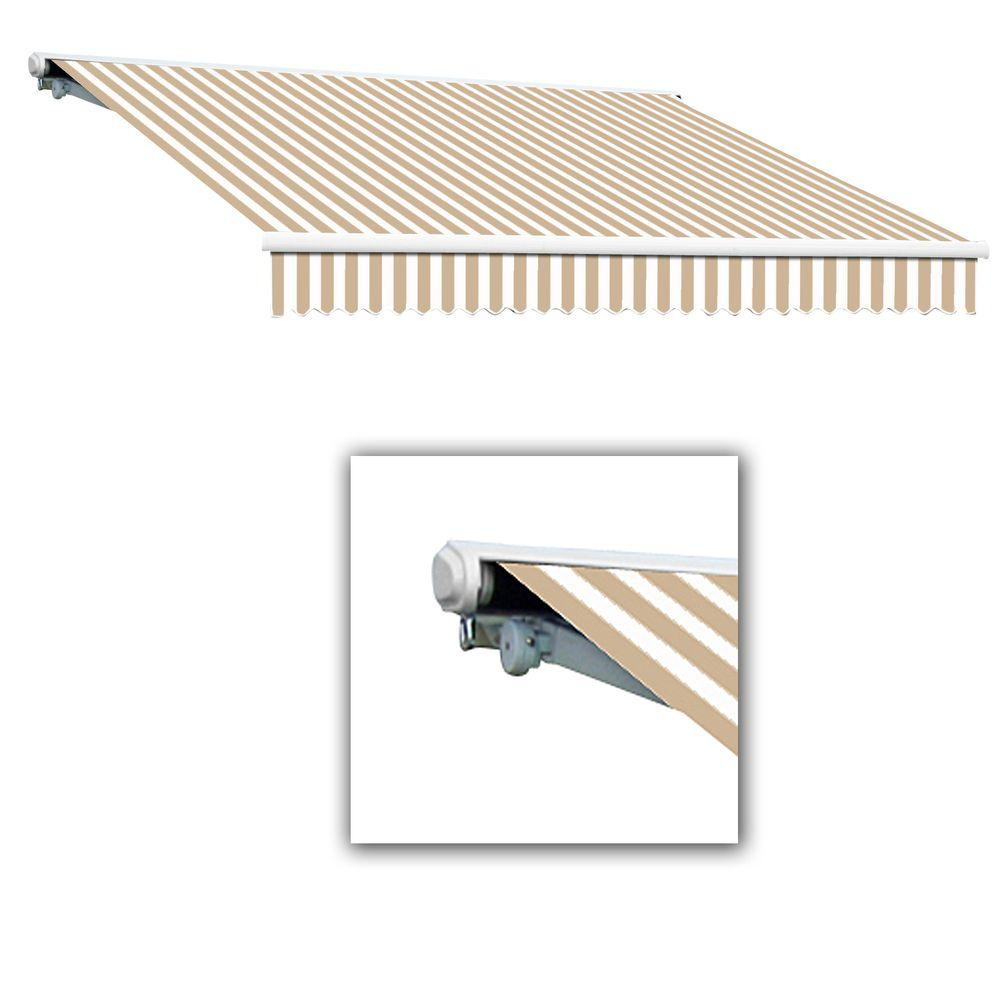 AWNTECH 20 ft. Galveston Semi-Cassette Left Motor with Remote Retractable Awning (120 in. Projection) in Linen/White