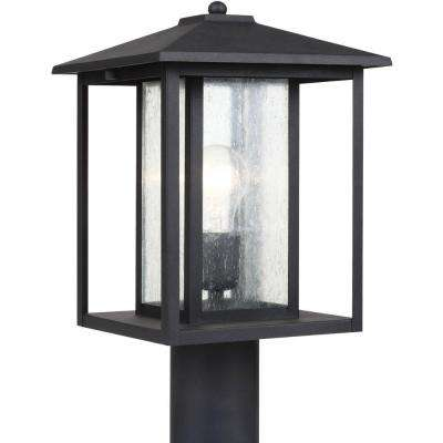 Hunnington 9 in. W 1-Light Black Outdoor Post Top with Clear Seeded Glass