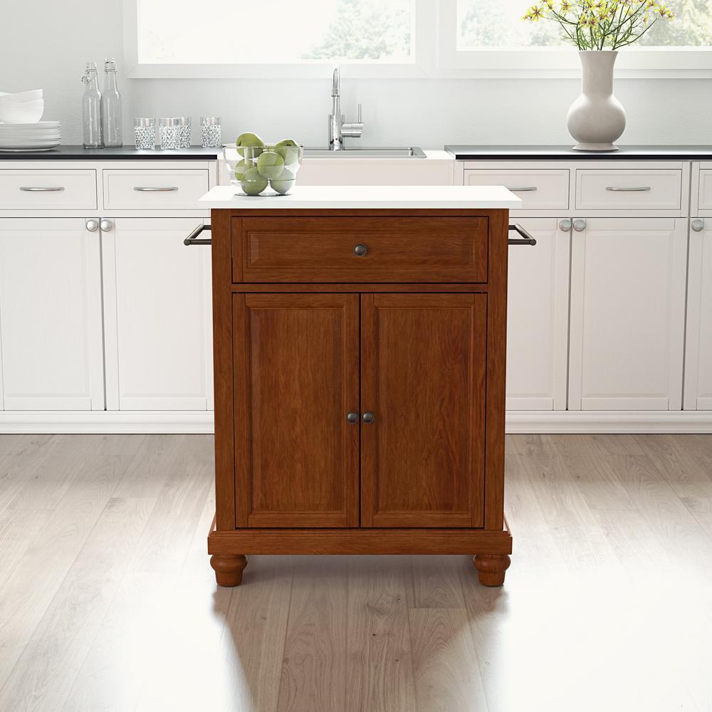 Cambridge Cherry Portable Kitchen Cart/Island with Granite Top