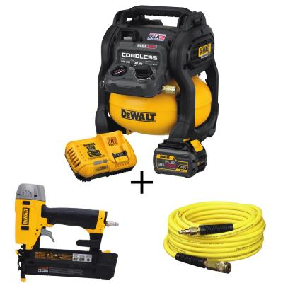 FLEXVOLT 2.5 Gal. 60-Volt MAX Brushless Cordless Electric Air Compressor Kit with Bonus Brad Nailer and 50 ft. Airhose