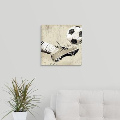"16 in. x 16 in. ""Vintage Soccer Strike"" by Peter Horjus Canvas Wall Art"