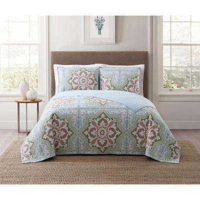 Sheffield Green Multi Full and Queen XL Quilt Set