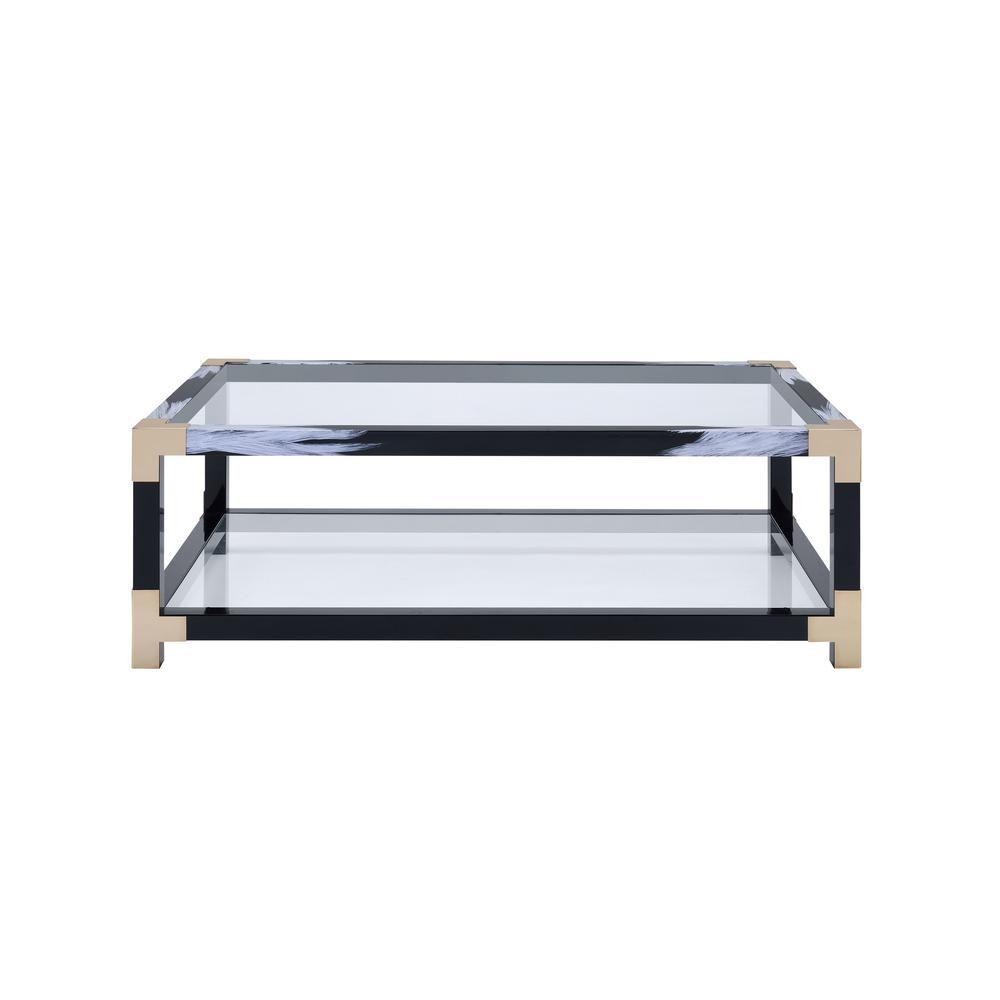 Lafty White Brushed Black Gold And Clear Glass Coffee Table