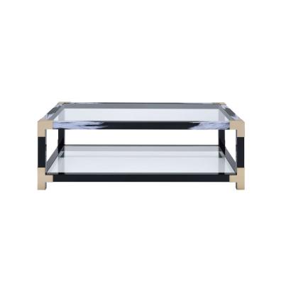 Lafty White Brushed, Black, Gold and Clear Glass Coffee Table