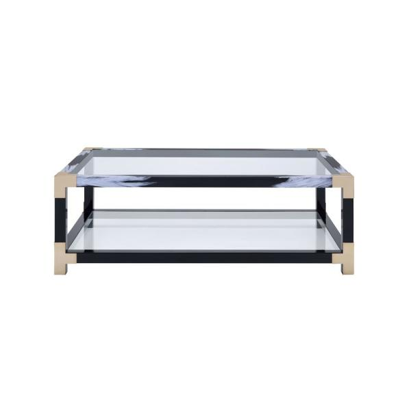 Acme Furniture Lafty White Brushed, Black, Gold and Clear Glass Coffee