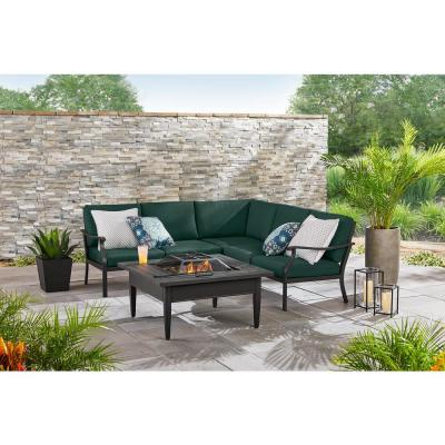 Riley 3-Piece Black Steel Outdoor Patio Sectional Sofa with CushionGuard Charleston Cushions