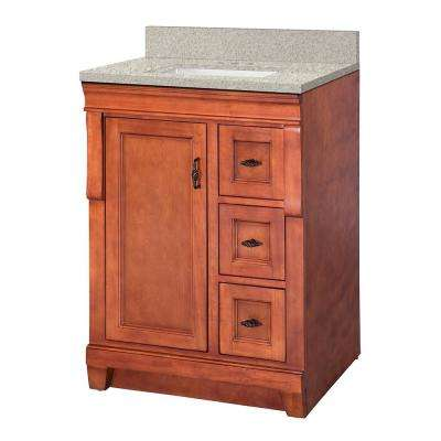 Naples 25 in. W x 22 in. D Vanity in Warm Cinnamon with Engineered Marble Vanity Top in Sedona with White Sink