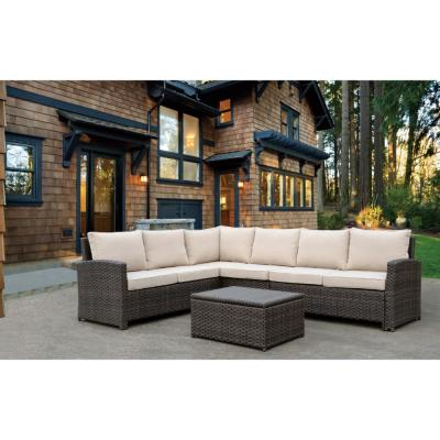 Rooftop Collection Brown Wicker Outdoor Sectional with Oatmeal Cushions (4-Piece)