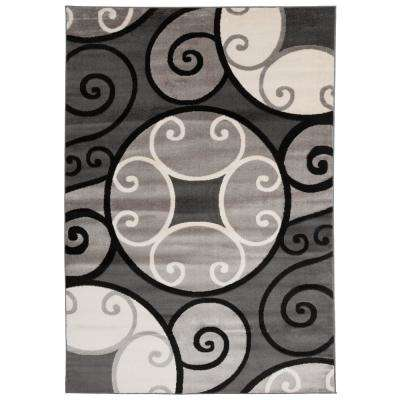 "Modern Scroll Circles Design Area Rug 7' 10"" x 10'2"" Gray"