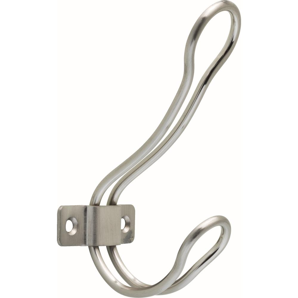 1.85 in. L Satin Nickel Rustic Wire Coat and Hat Hook