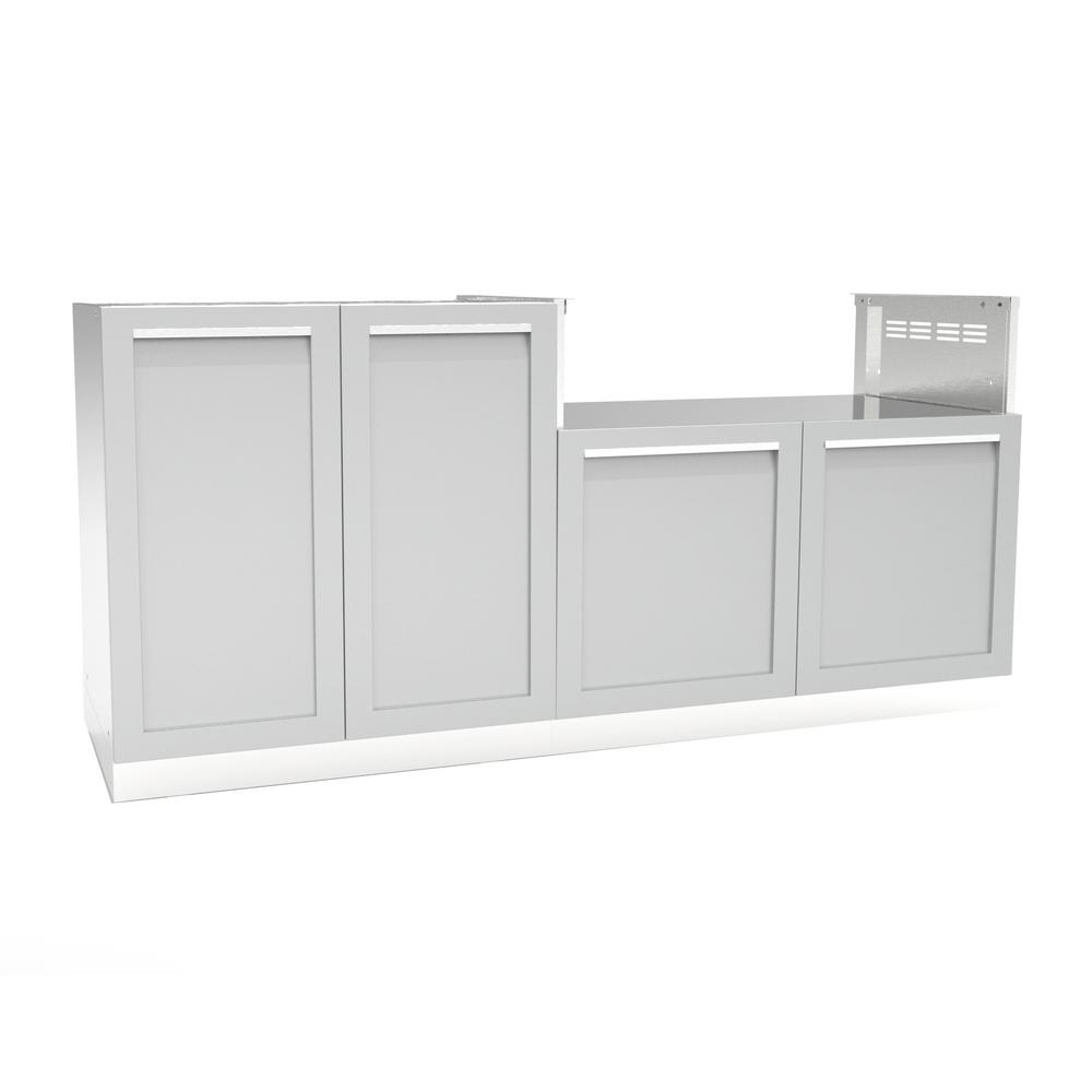 Stainless steel 2 piece 72x35x22 5 in outdoor kitchen cabinet set with powder coated doors in gray