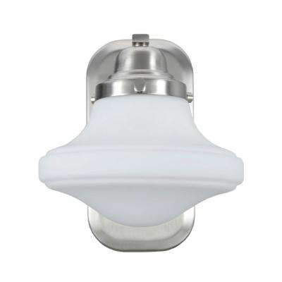 1-Light Brushed Nickel Vanity Light with Opal Etched Glass Shade