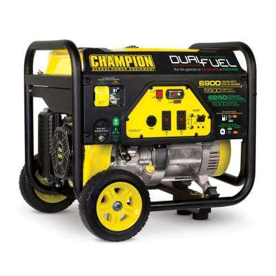 5,500-Watt Dual Fuel Powered Portable Generator with Champion 389 cc 4-Stroke Engine