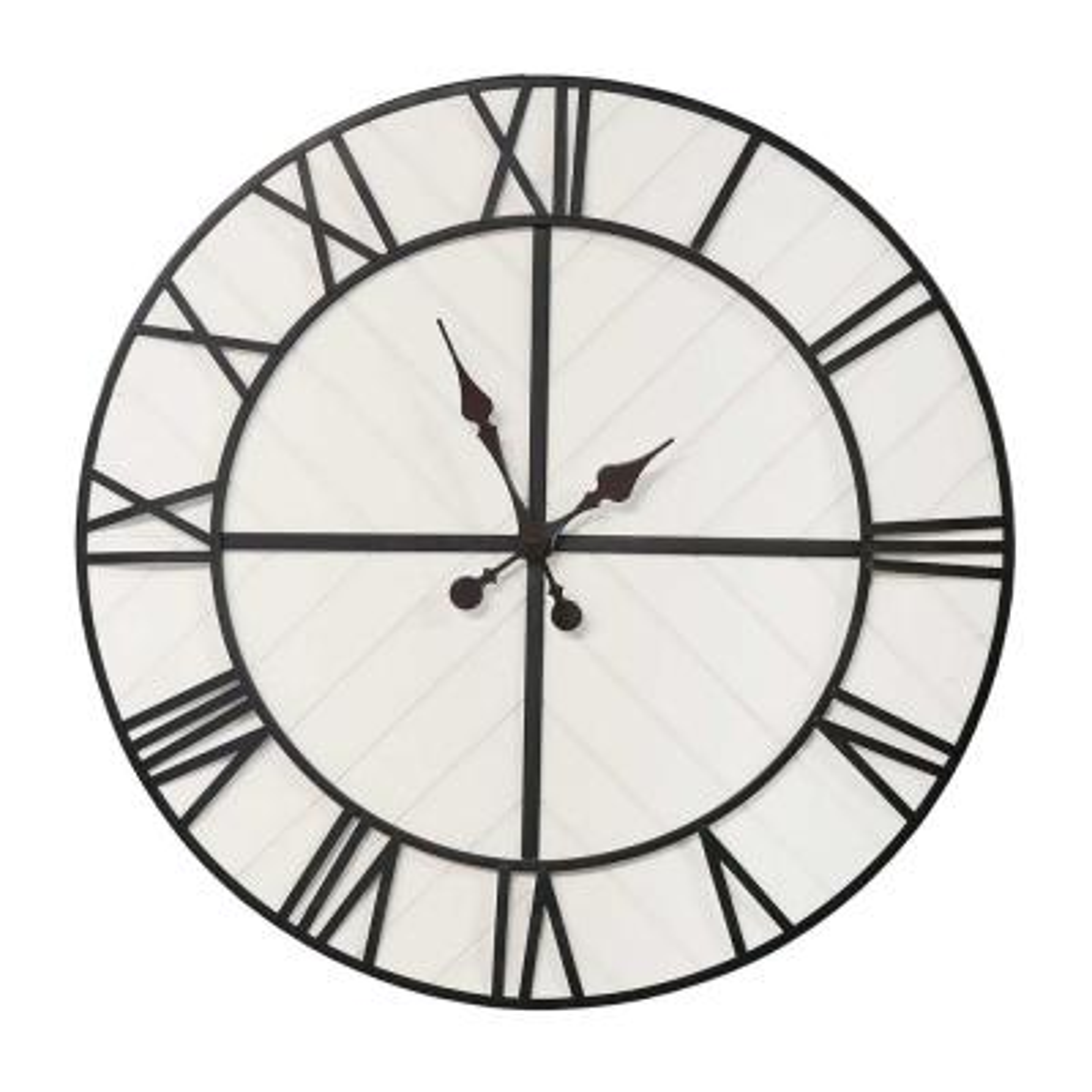 "31.5"" White Wood & Black Metal / Wall Clock"
