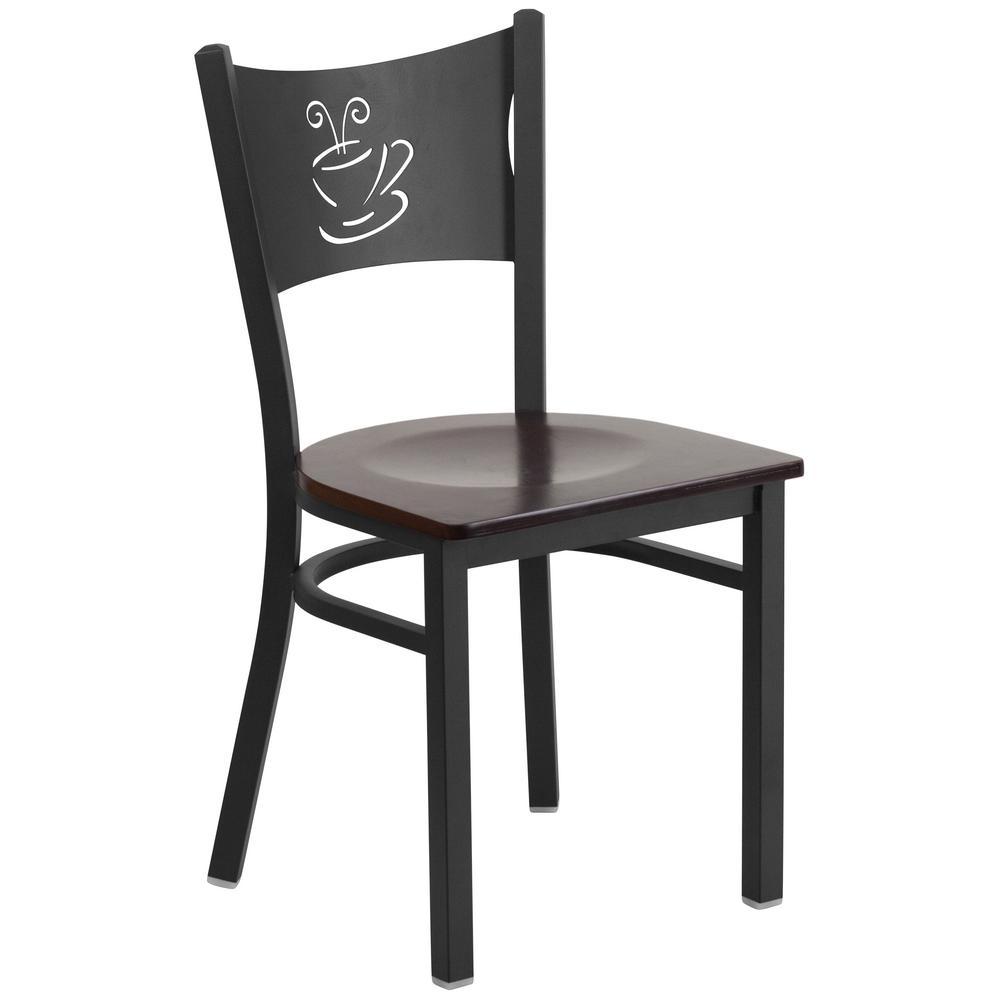 Flash Furniture Hercules Series Black Coffee Back Metal Restaurant Chair - Walnut Wood Seat by Flash Furniture