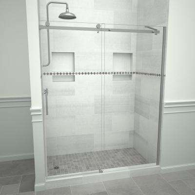 Redi Slide 5300 71 in. W x 76 in. H Semi-Frameless Sliding Shower Door in Brushed Nickel with Handle