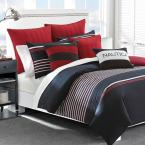 Mieola 3-Piece Navy Blue Striped Cotton Full/Queen Comforter Set