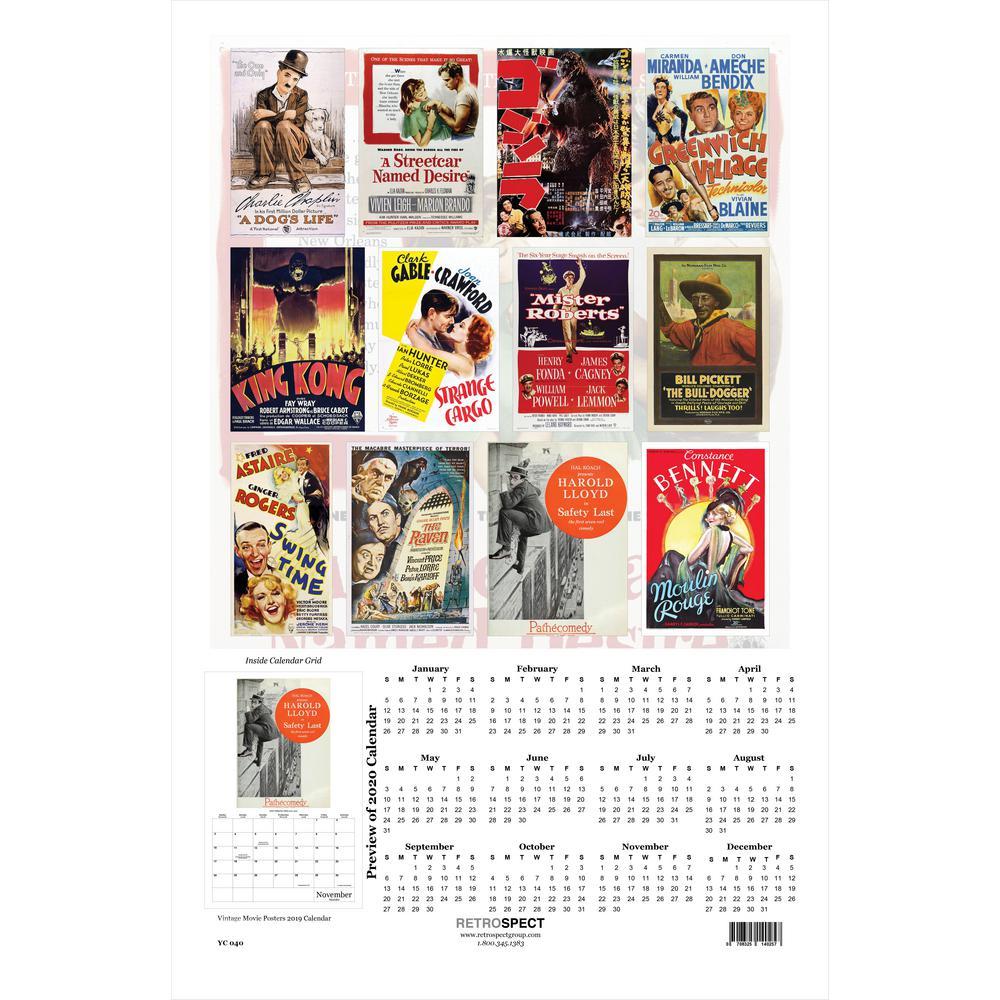 19 in. x 12.5 in. Vintage Movie Posters Calendar - 2019 Calendar