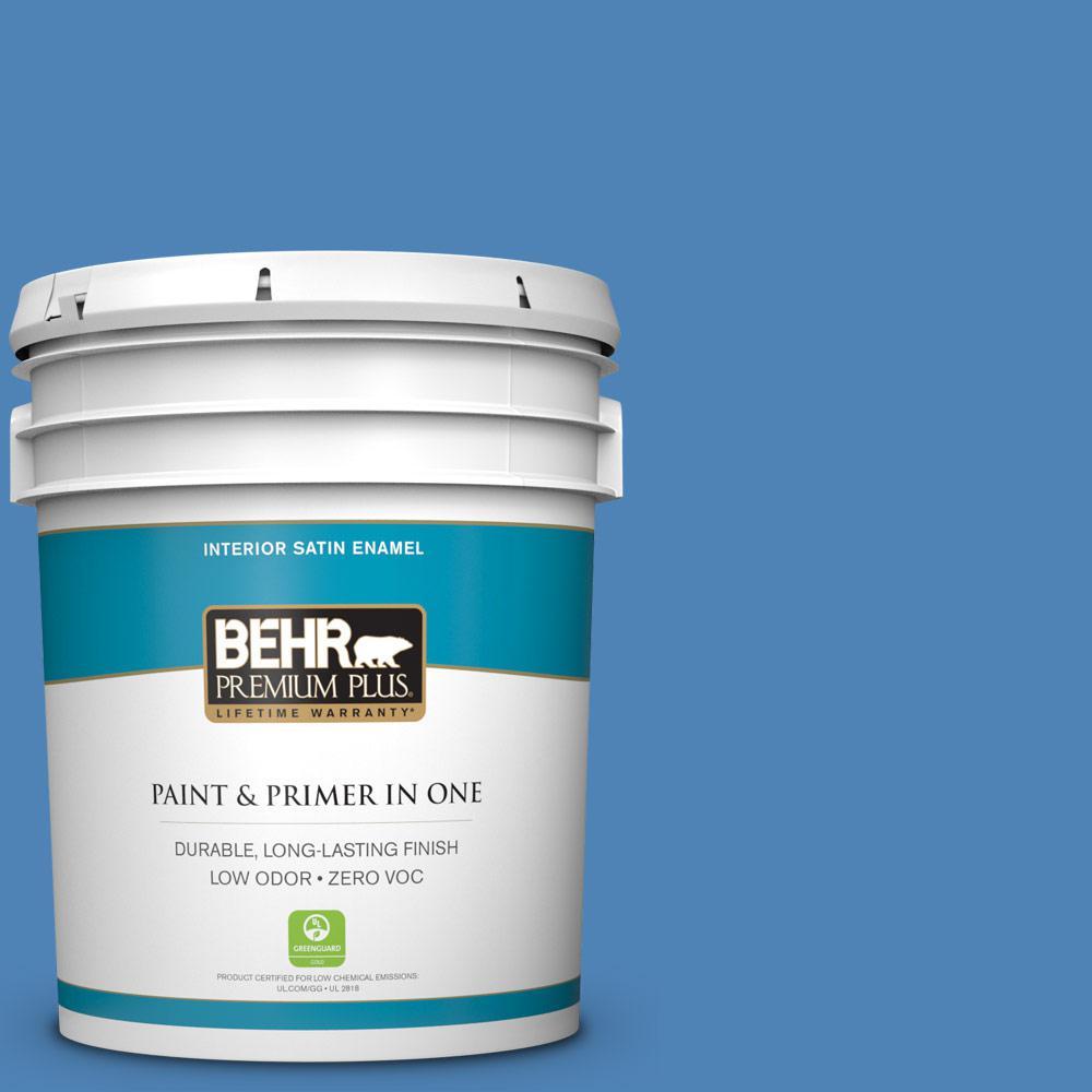 5 gal. #PPU15-06 Neon Blue Zero VOC Satin Enamel Interior Paint