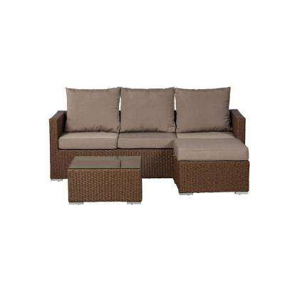 Dorsey Mocha 3-Piece Wicker Outdoor Sectional with Taupe Cushions