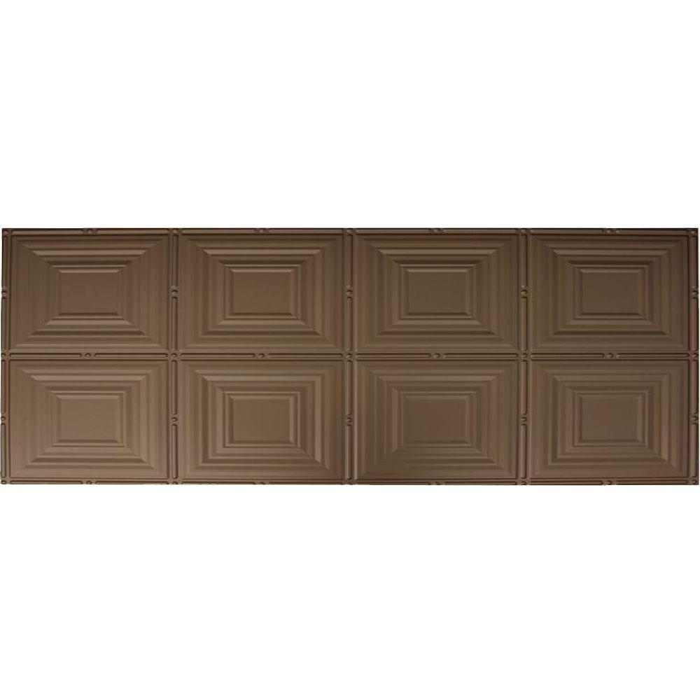 Global Specialty Products Dimensions Faux 2 ft. x 4 ft. Glue-up Tin Style Bronze Ceiling Tile for Surface Mount