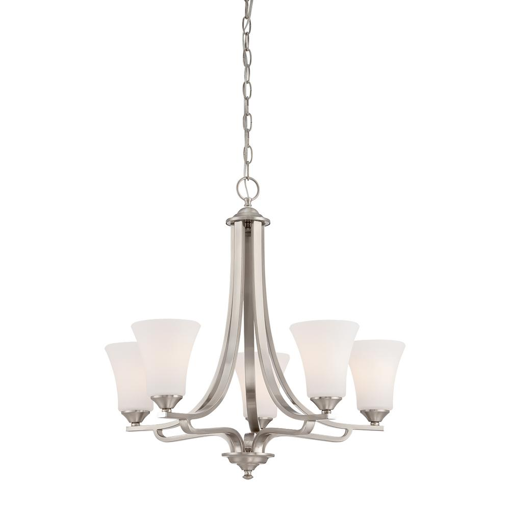Thomas Lighting Treme 5-Light Brushed Nickel Chandelier With Etched White Glass Shades