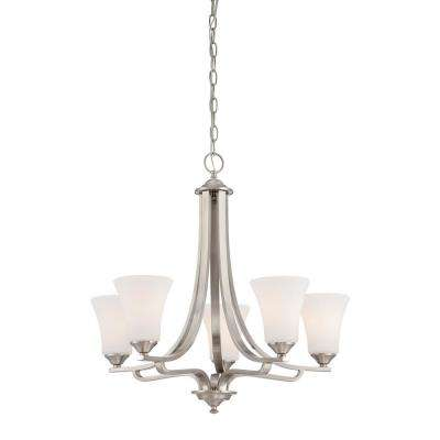 Treme 5-Light Brushed Nickel Chandelier With Etched White Glass Shades