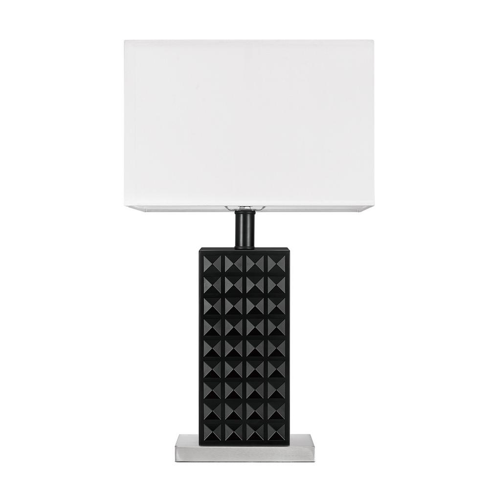 Selina 20 in. Black Finish, Brushed Nickel, Table Lamp with White
