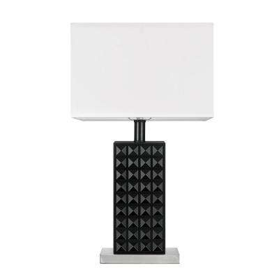 Selina 20 in. Black Finish, Brushed Nickel, Table Lamp with White Shade