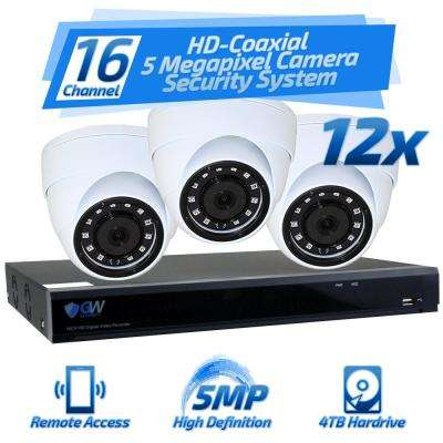 16-Channel HD-Coaxial 5 Megapixel Security Surveillance System 12 Cameras with Microphone 3.6 mm/M12 Lens and 4TB HDD