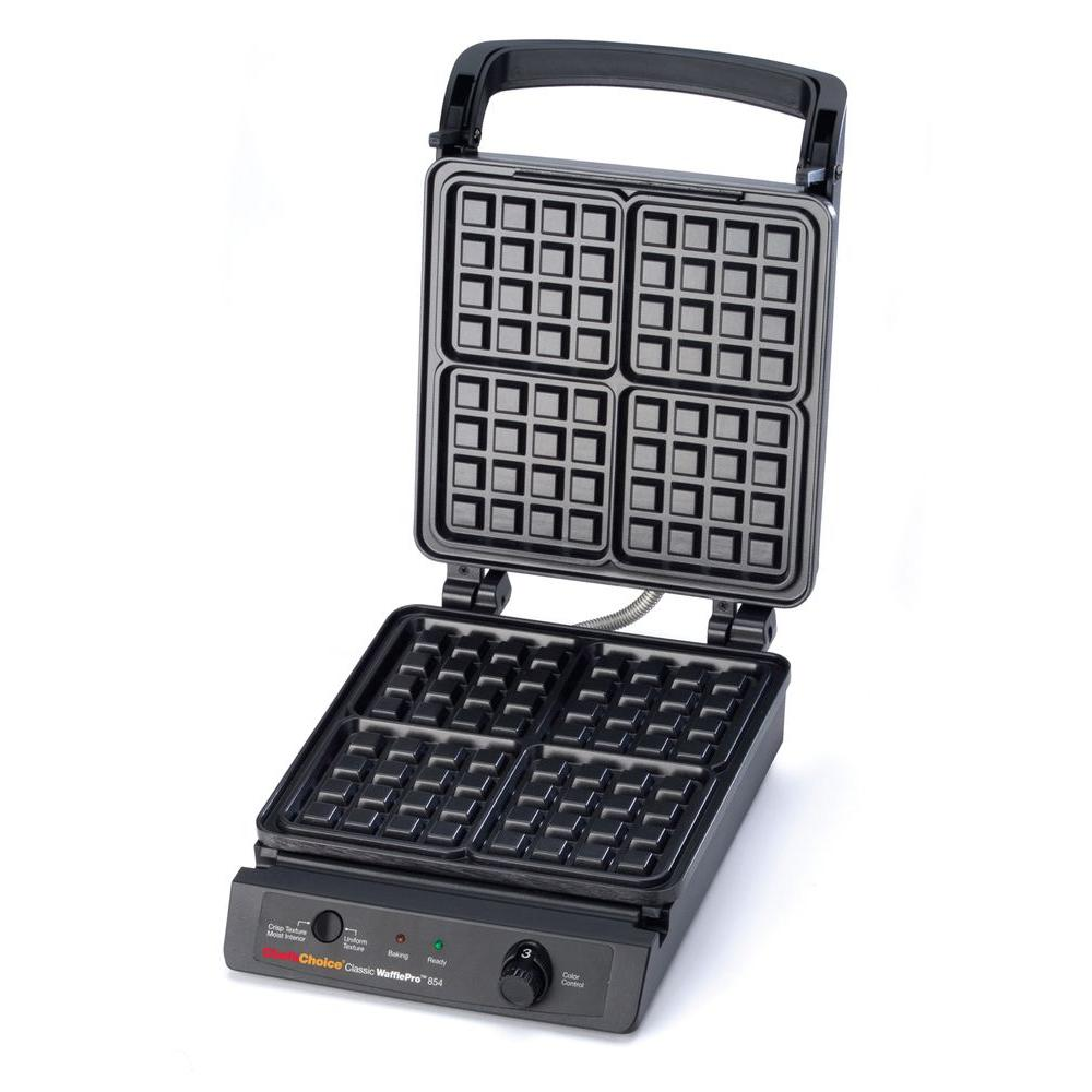 Chef'sChoice Classic WafflePro Waffle Maker, Stainless The Chef'sChoice WafflePro #854 is extremely fast and will bake four delicious, homemade waffles in less than three minutes. Elegantly-styled, with a sleek retro stainless steel patterned finish on the cover, it combines visual appeal with superior functionality. Waffles can be made to order with the advanced Taste/Texture Select feature that delivers the waffles of your choice-with the ultimate taste, texture and AROMA.