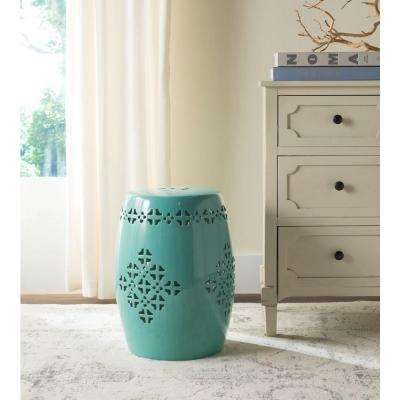 Quatrefoil Aqua Patio Stool