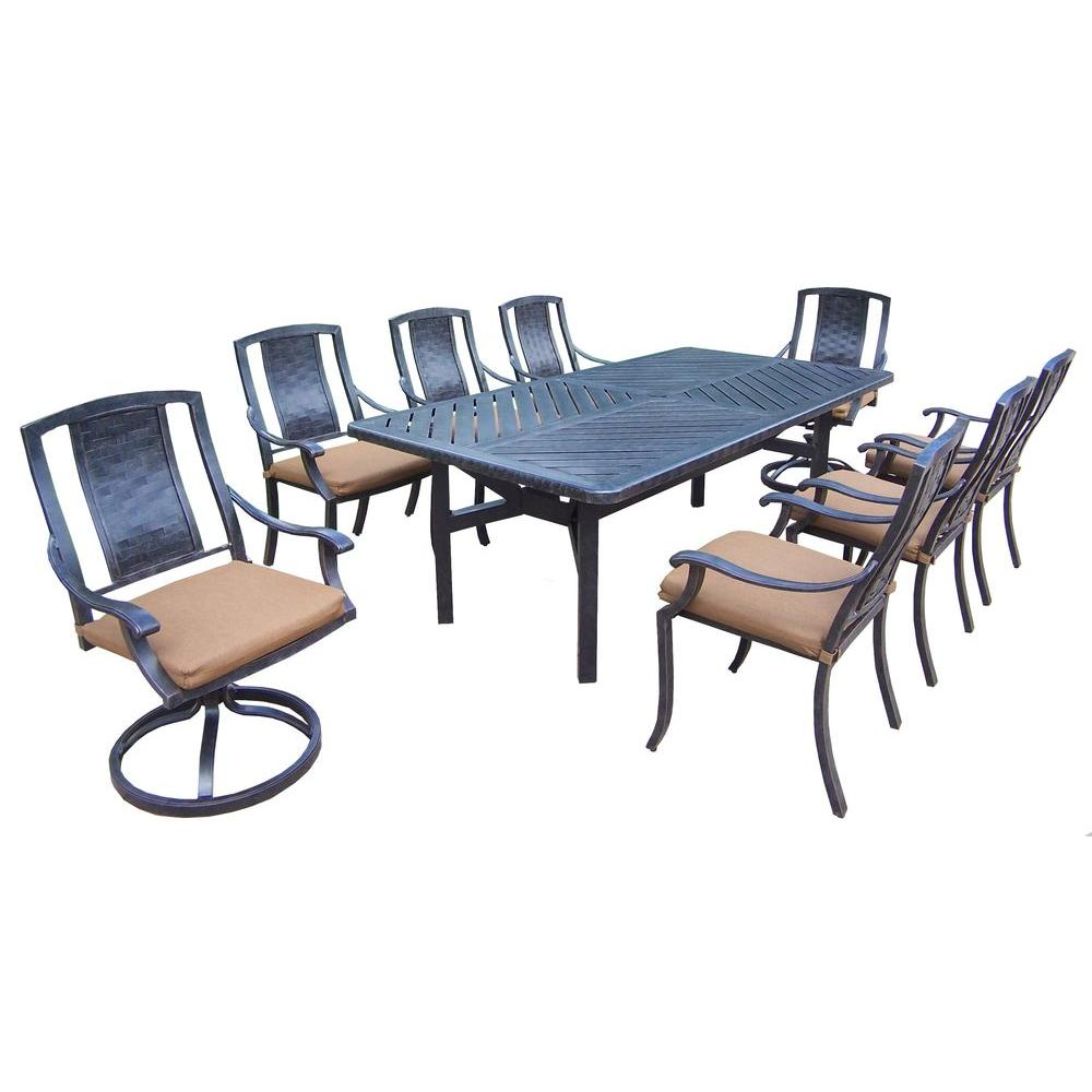 Aluminum 9-Piece Rectangular Patio Dining Set with Sunbrella Canvas Teak