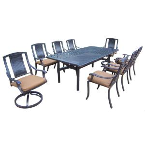 Click here to buy  Aluminum 9-Piece Rectangular Patio Dining Set with Sunbrella Canvas Teak Cushions.