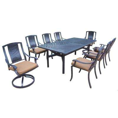 Aluminum 9-Piece Rectangular Patio Dining Set with Sunbrella Canvas Teak Cushions
