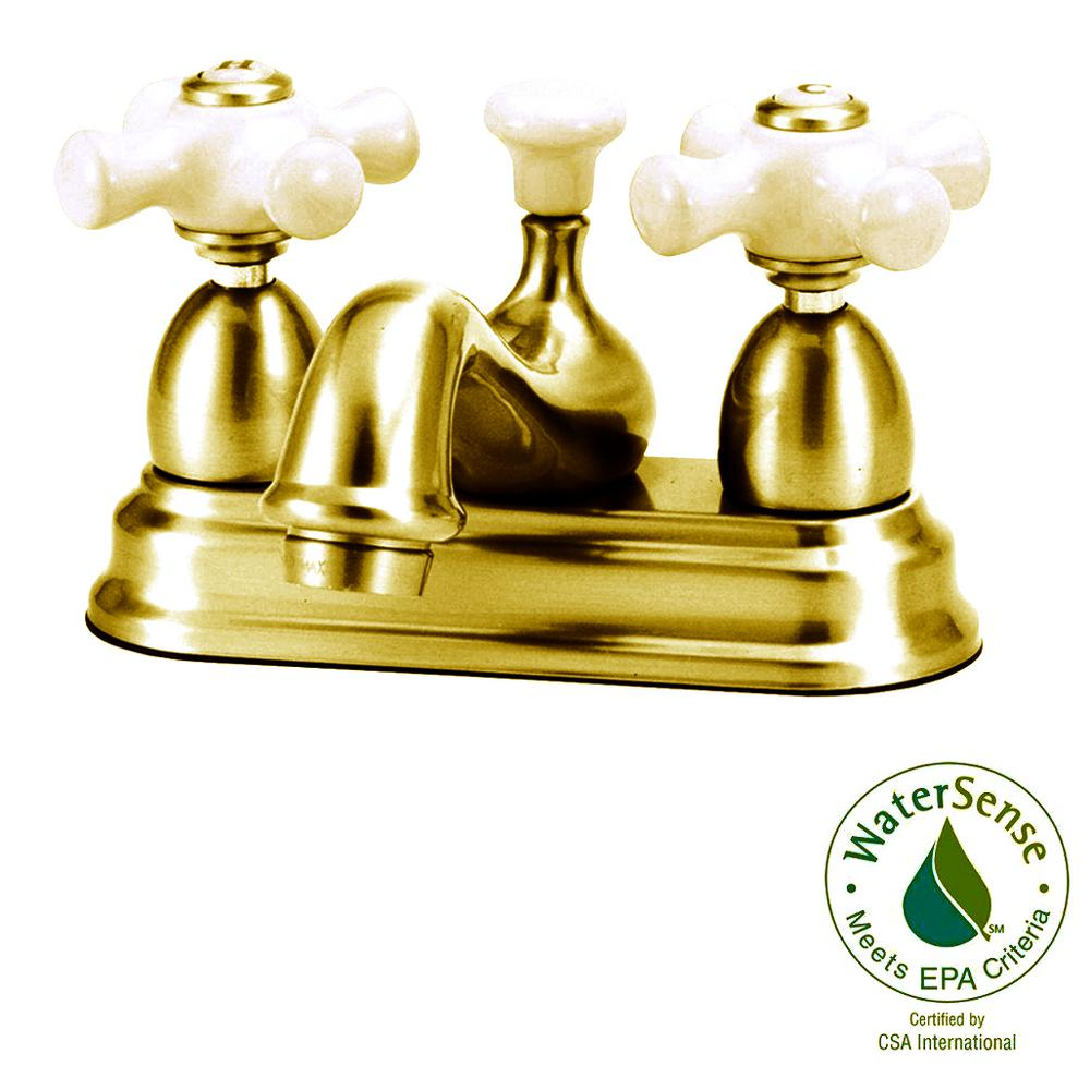 Elizabethan Classics Bradsford 4 in. 2-Handle Bathroom Faucet in Polished Brass with Porcelain Cross Handle