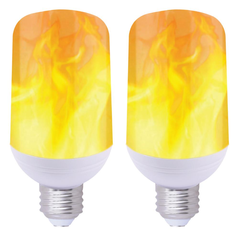 GLOBAL VALUE LIGHTING 40-Watt Equivalent T60 Flame Effect LED Light Bulb Soft White (2-Pack)