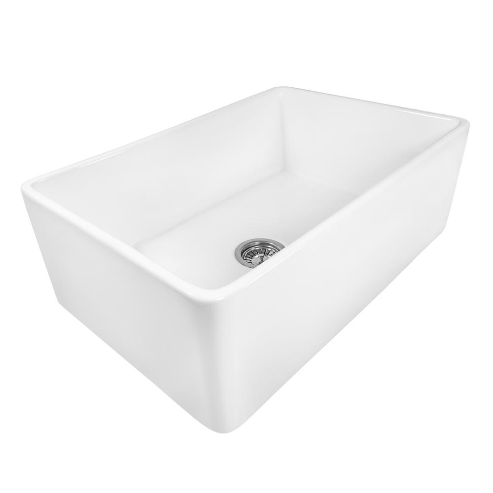 Ruvati Farmhouse Apron Front Fireclay 33 In X 20 In Reversible Single Bowl Kitchen Sink In White