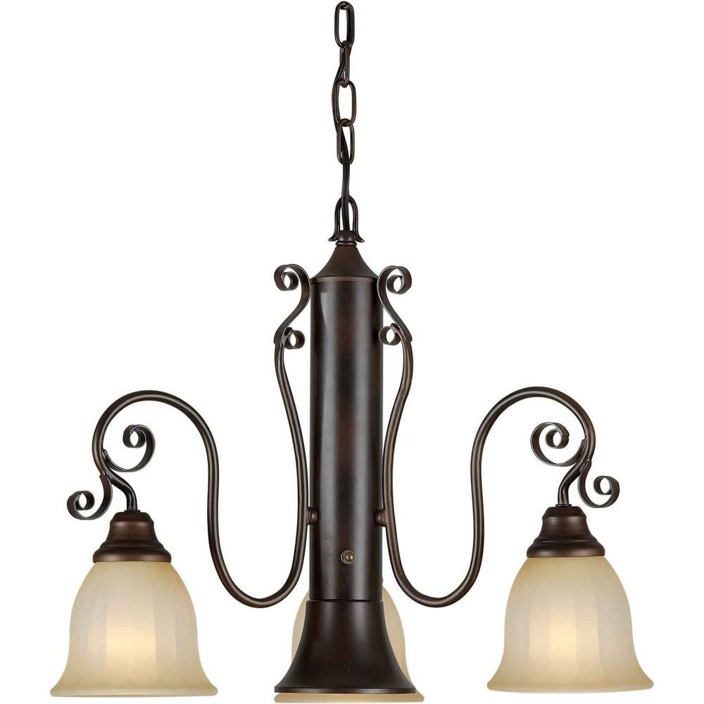 Talista 4-Light Antique Bronze Chandelier with Umber Mist Glass