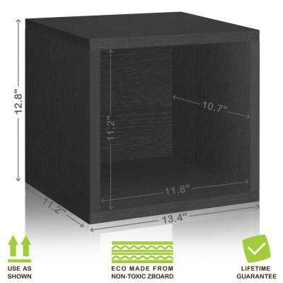 Eco Stackable zBoard 13.4 in. x 12.8 in. Tool-Free Assembly Storage 1-Cube Unit Organizer in Black Wood Grain