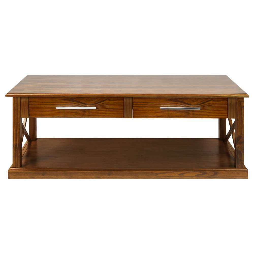 Vintage Casual Coffee Tables: Casual Home Bay View Warm Brown Coffee Table-363-24
