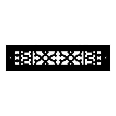 Scroll Series 12 in. x 2-1/4 in. Cast Iron Grille, Black with Mounting Holes