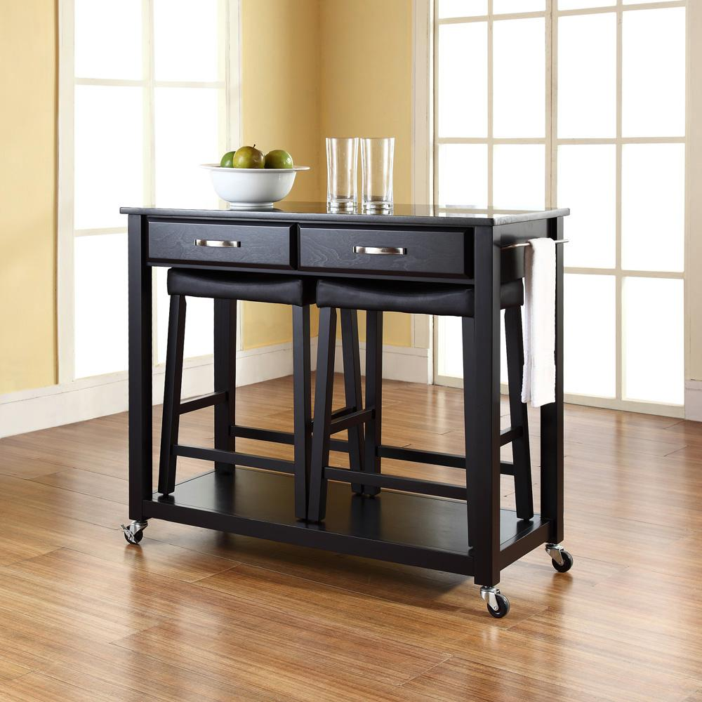 Black Kitchen Cart With Black Granite Top